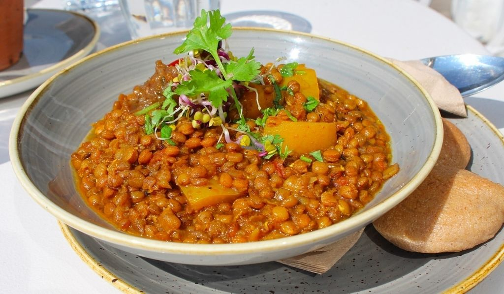 """Photo of Bhuti  by <a href=""""/members/profile/kezia"""">kezia</a> <br/>Brown lentil and yellow pepper Dahl curry with wheat free buchetta bites <br/> September 2, 2016  - <a href='/contact/abuse/image/70925/173030'>Report</a>"""