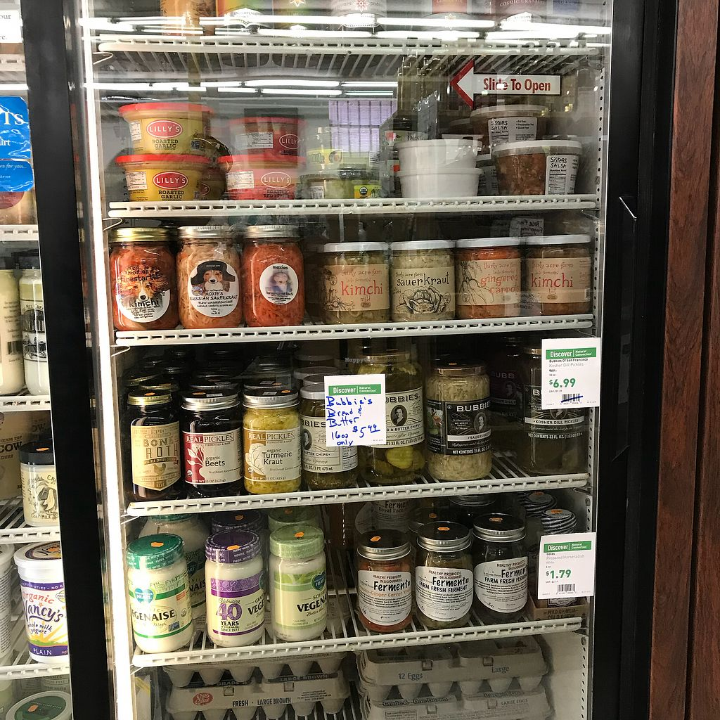 """Photo of John Edwards Whole Foods & Wine Cellar Art Gallery  by <a href=""""/members/profile/Sarah%20P"""">Sarah P</a> <br/>Maine made ferments and veganaise <br/> April 18, 2018  - <a href='/contact/abuse/image/70961/387834'>Report</a>"""