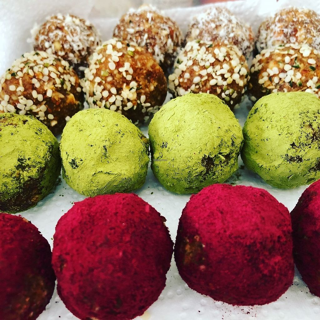 """Photo of Bliss Pure Foods  by <a href=""""/members/profile/KathrynSunantha"""">KathrynSunantha</a> <br/>Bliss balls  Made of superfoods spirulina, matcha, coconut, cacao powder, raw vegan beet etc  <br/> March 5, 2018  - <a href='/contact/abuse/image/70969/367030'>Report</a>"""