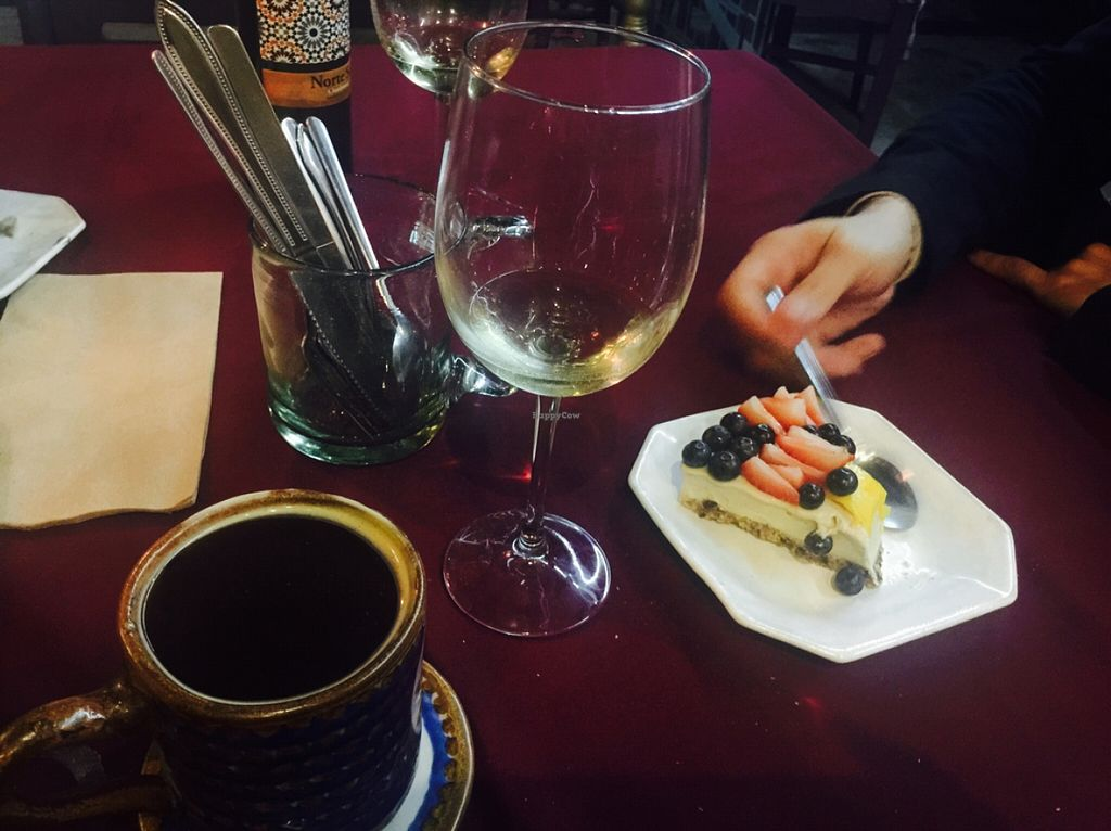 """Photo of CLOSED: Coco y Chia  by <a href=""""/members/profile/LaylaLm"""">LaylaLm</a> <br/>wine and cheesecake  <br/> April 6, 2016  - <a href='/contact/abuse/image/70981/143134'>Report</a>"""