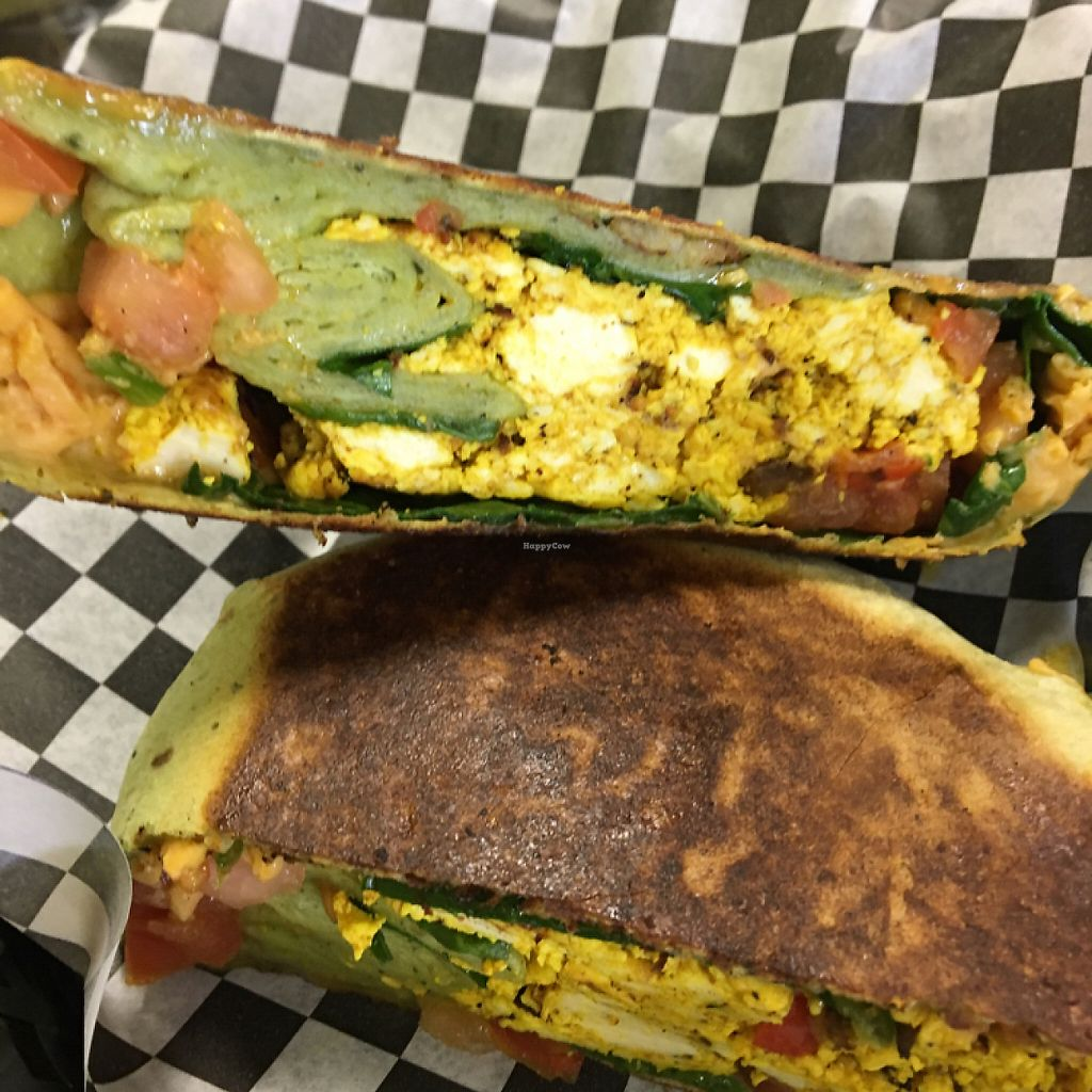 """Photo of Splurge Juice Bar and Cafe  by <a href=""""/members/profile/X10"""">X10</a> <br/>eggless scramble wrap <br/> May 7, 2017  - <a href='/contact/abuse/image/70997/256888'>Report</a>"""