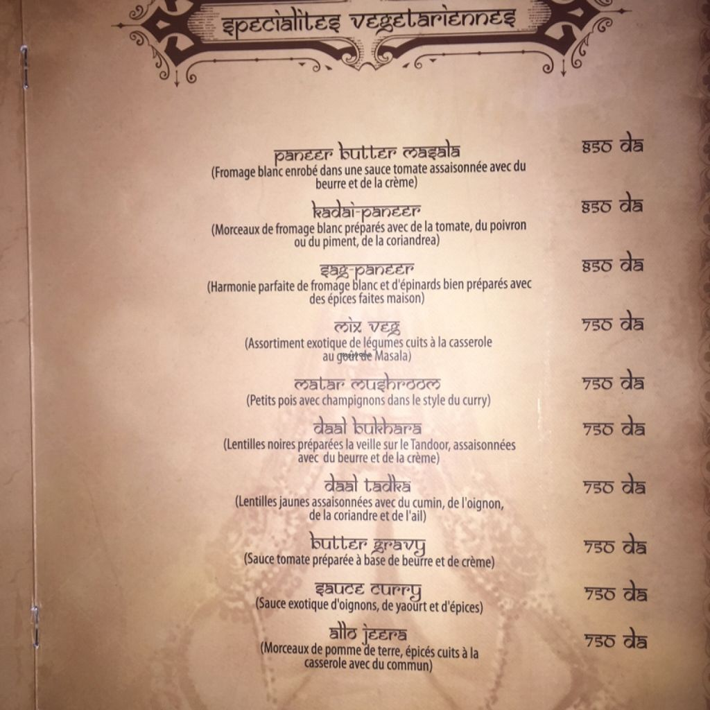 """Photo of Maharaja  by <a href=""""/members/profile/Idriss"""">Idriss</a> <br/>Veggy section of the menu <br/> March 20, 2016  - <a href='/contact/abuse/image/71004/140658'>Report</a>"""
