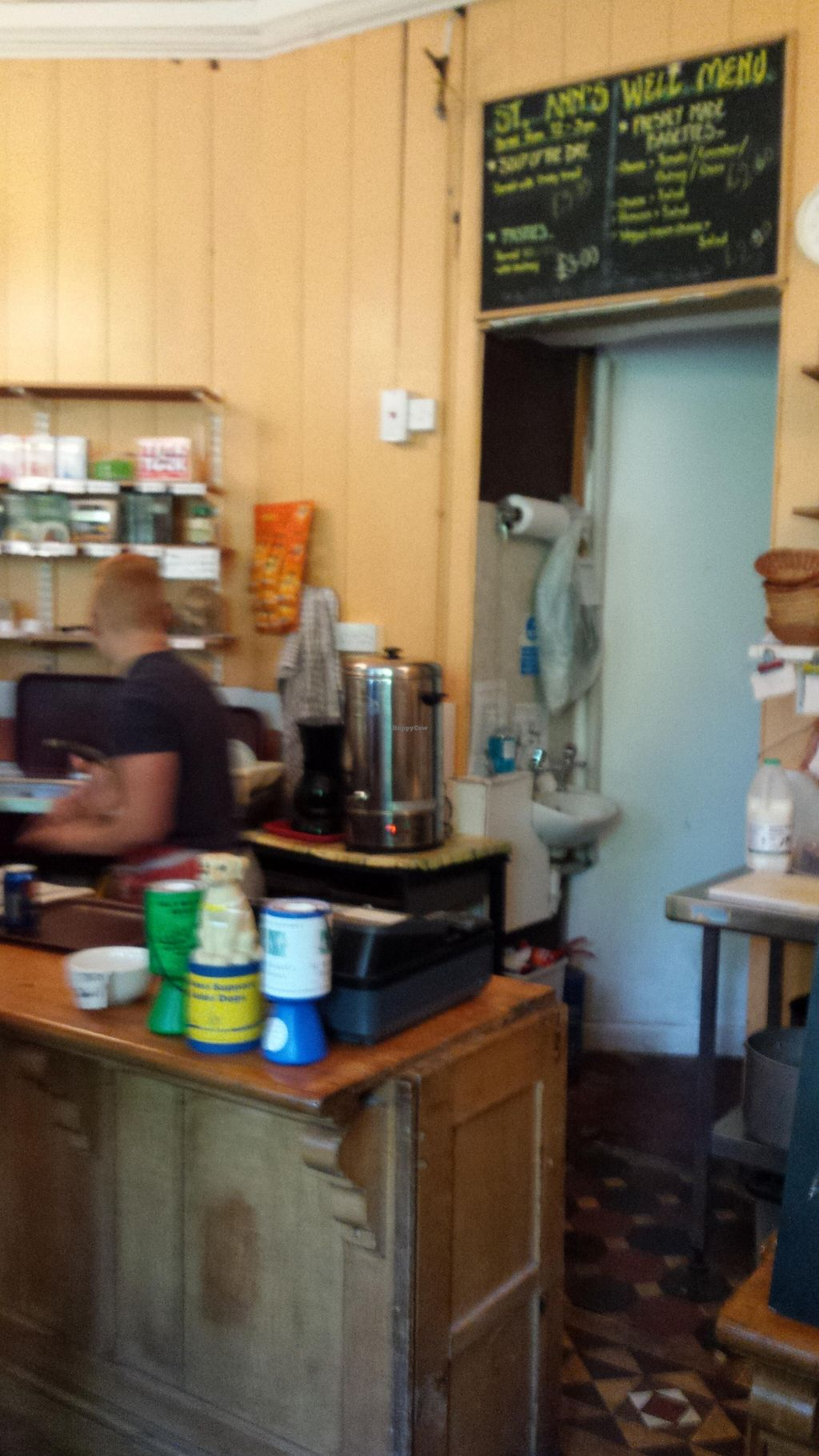 """Photo of St Ann's Well Cafe  by <a href=""""/members/profile/Good%20for%20Vegans"""">Good for Vegans</a> <br/>Counter <br/> September 6, 2015  - <a href='/contact/abuse/image/7100/116542'>Report</a>"""