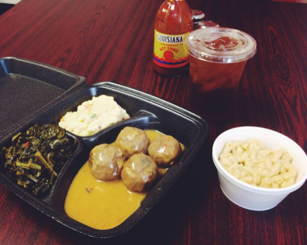 """Photo of CLOSED: The Roost Southern Kitchen  by <a href=""""/members/profile/Manlyvegan"""">Manlyvegan</a> <br/>Pecan patty medallions, southern greens, potato salad, Mac and cheese, and sweet tea.  <br/> March 18, 2016  - <a href='/contact/abuse/image/71015/140383'>Report</a>"""