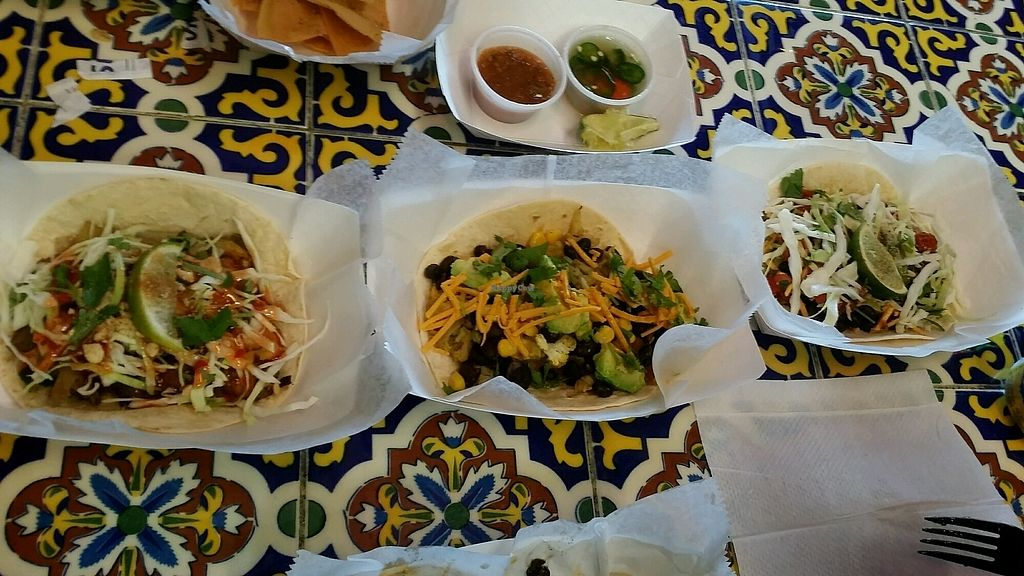 """Photo of Taco Shack  by <a href=""""/members/profile/maltinej"""">maltinej</a> <br/>3 very tasty vegetarian taco options <br/> January 17, 2018  - <a href='/contact/abuse/image/71016/347731'>Report</a>"""