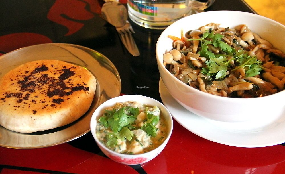 """Photo of Taboon  by <a href=""""/members/profile/reissausta%20ja%20ruokaa"""">reissausta ja ruokaa</a> <br/>Mushroom salad, pita and babaganoush. So good.  <br/> July 7, 2017  - <a href='/contact/abuse/image/71037/277572'>Report</a>"""