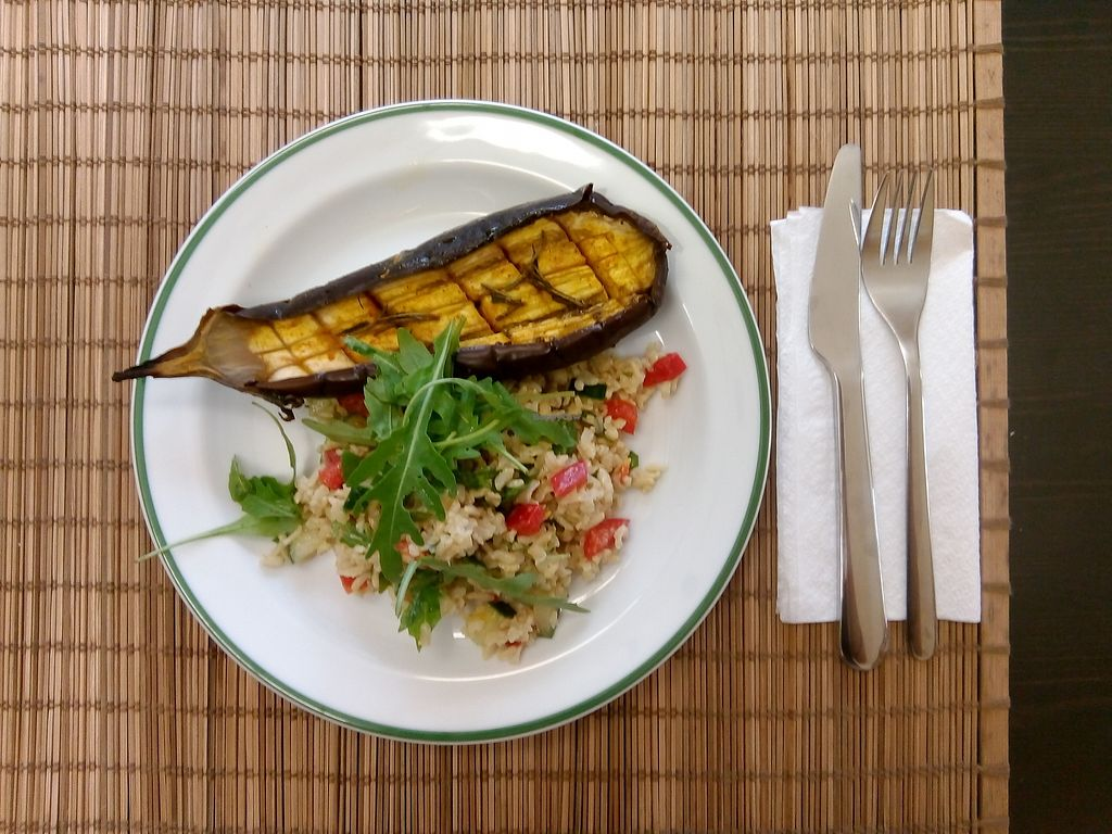 "Photo of Sophie's Biowelt - Universitätsstrasse  by <a href=""/members/profile/soproyer"">soproyer</a> <br/>Aubergine with rice salad and rucola. Everyday a special lunch... check out our facebook/instagram to see the daily offer!  <br/> July 24, 2017  - <a href='/contact/abuse/image/71069/284225'>Report</a>"