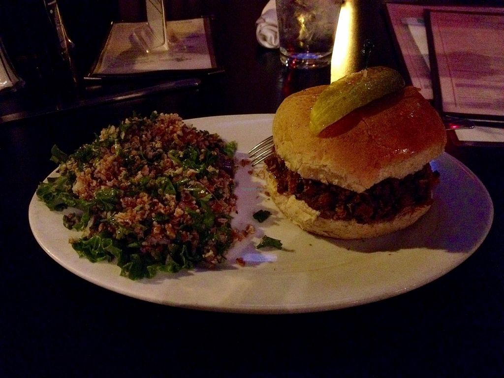 """Photo of Spotted Dog Restaurant and Bar  by <a href=""""/members/profile/clovely.vegan"""">clovely.vegan</a> <br/>Veggie BBQ sandwich (slow-cooked shredded soy chicken) <br/> October 22, 2015  - <a href='/contact/abuse/image/7106/122156'>Report</a>"""