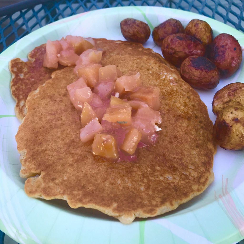 "Photo of Zinman's Food Shop  by <a href=""/members/profile/BetterOffRed"">BetterOffRed</a> <br/>Pancakes with fruit compote and Nepali potatoes <br/> December 3, 2016  - <a href='/contact/abuse/image/71195/196975'>Report</a>"