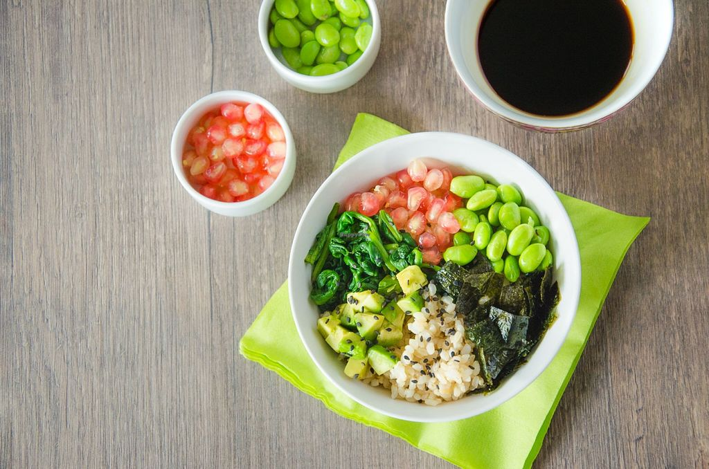 """Photo of Raisin' The Roof at Kind Kones Plaza Damansara  by <a href=""""/members/profile/SamiSinadaJr."""">SamiSinadaJr.</a> <br/>A deconstruction of sushi in a bowl! Healthy, delicious and of course super nutritious - this Brown Rice Sushi Bowl is vegan and gluten free, served up with avocado, edamame, sautéed spinach, pomegranate seeds & toasted seaweed with soy dressing!  <br/> March 21, 2016  - <a href='/contact/abuse/image/71210/140845'>Report</a>"""