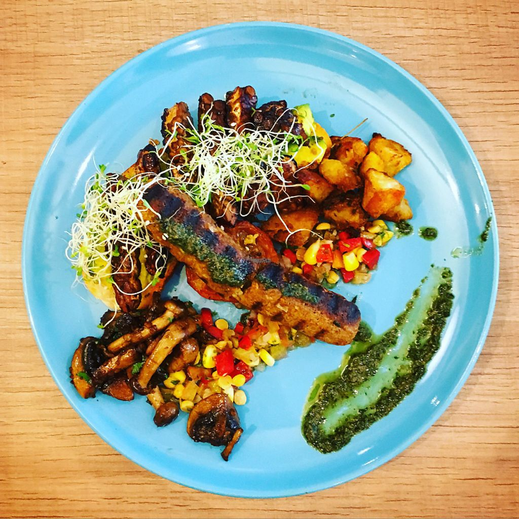 """Photo of Raisin' The Roof at Kind Kones Plaza Damansara  by <a href=""""/members/profile/Spaghetti_monster"""">Spaghetti_monster</a> <br/>vegan brunch plate (tofu sausage and tempeh) <br/> April 4, 2017  - <a href='/contact/abuse/image/71210/244506'>Report</a>"""