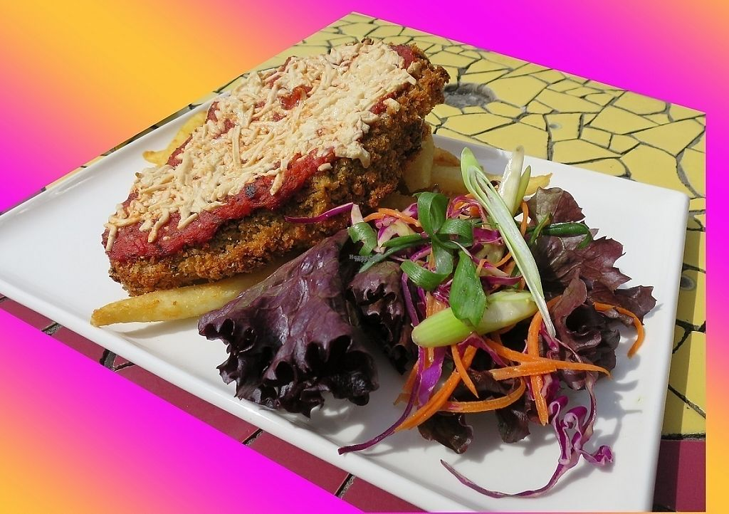 """Photo of The Austral Hotel  by <a href=""""/members/profile/cvxmelody"""">cvxmelody</a> <br/>Vegan eggplant schnitzel with vegan cheese parmy <br/> January 5, 2017  - <a href='/contact/abuse/image/71239/208206'>Report</a>"""