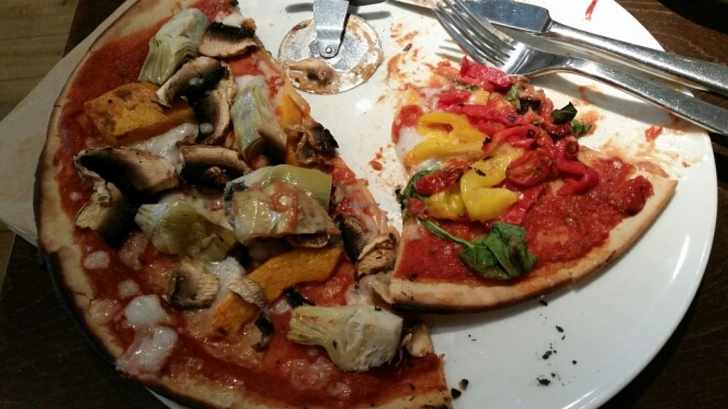 "Photo of Zizzi - High St  by <a href=""/members/profile/konlish"">konlish</a> <br/>Gluten free pizza with mushrooms, artichokes and butternut, the other bell pepper, spinach and balsamic tomatoes <br/> March 23, 2016  - <a href='/contact/abuse/image/71288/141033'>Report</a>"
