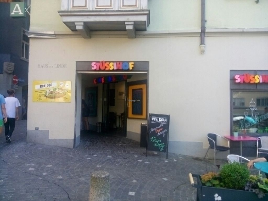 """Photo of Kino Stuessihof  by <a href=""""/members/profile/Tomasos"""">Tomasos</a> <br/>Entrance plus tables outside <br/> July 21, 2016  - <a href='/contact/abuse/image/71292/161375'>Report</a>"""