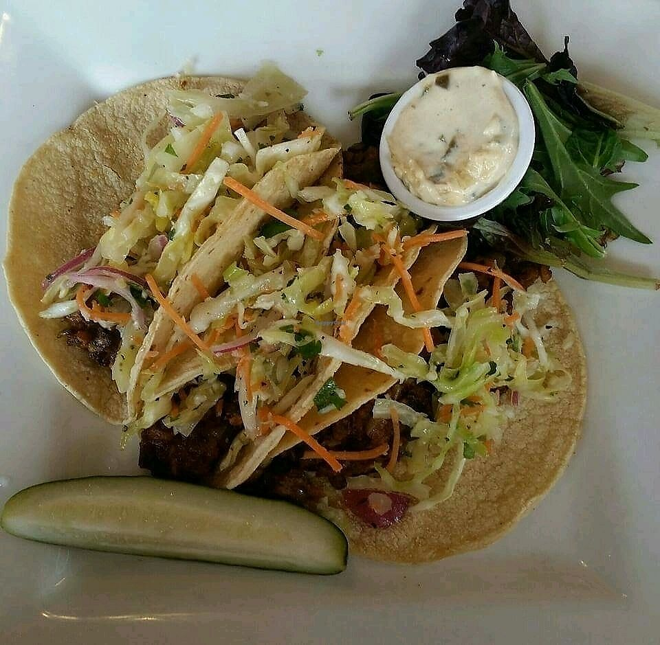 """Photo of Marie Catrib's  by <a href=""""/members/profile/AthenaTrombly"""">AthenaTrombly</a> <br/>Vegan Ancho-Chili-Spiced lentils, grilled onions, roasted poblano peppers, garlic-lime slaw, poblano veganaise on corn tortillas  <br/> February 23, 2018  - <a href='/contact/abuse/image/7129/362906'>Report</a>"""