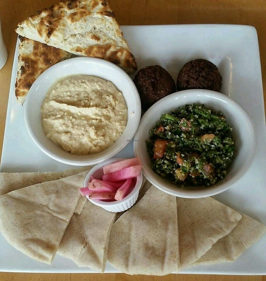 """Photo of Marie Catrib's  by <a href=""""/members/profile/AthenaTrombly"""">AthenaTrombly</a> <br/>Falafel, taboule, hummus and pickled turnip with gluten free bread and pita <br/> February 23, 2018  - <a href='/contact/abuse/image/7129/362907'>Report</a>"""