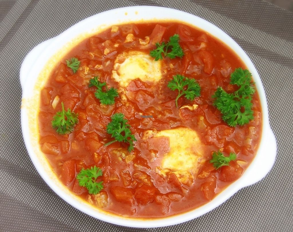 "Photo of CLOSED: Falafel Sihanoukville  by <a href=""/members/profile/AlexanderYelenchuk"">AlexanderYelenchuk</a> <br/>Shakshuka Israeli breakfast. Tomatos, garlic, parsley and eggs. Served with hot Pita bread <br/> March 9, 2017  - <a href='/contact/abuse/image/71312/234534'>Report</a>"