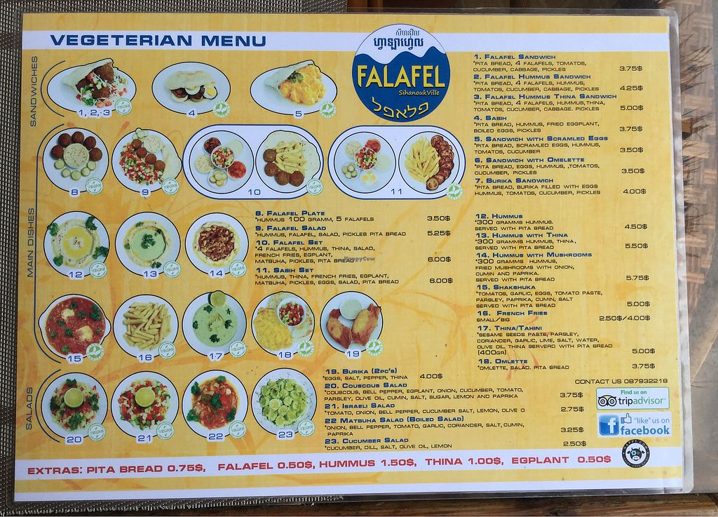 """Photo of CLOSED: Falafel Sihanoukville  by <a href=""""/members/profile/Mike%20Munsie"""">Mike Munsie</a> <br/>vegetarian menu <br/> September 11, 2017  - <a href='/contact/abuse/image/71312/303216'>Report</a>"""