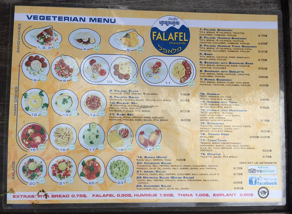 """Photo of CLOSED: Falafel Sihanoukville  by <a href=""""/members/profile/sohima"""">sohima</a> <br/>Menu (10/2017) <br/> October 16, 2017  - <a href='/contact/abuse/image/71312/315761'>Report</a>"""