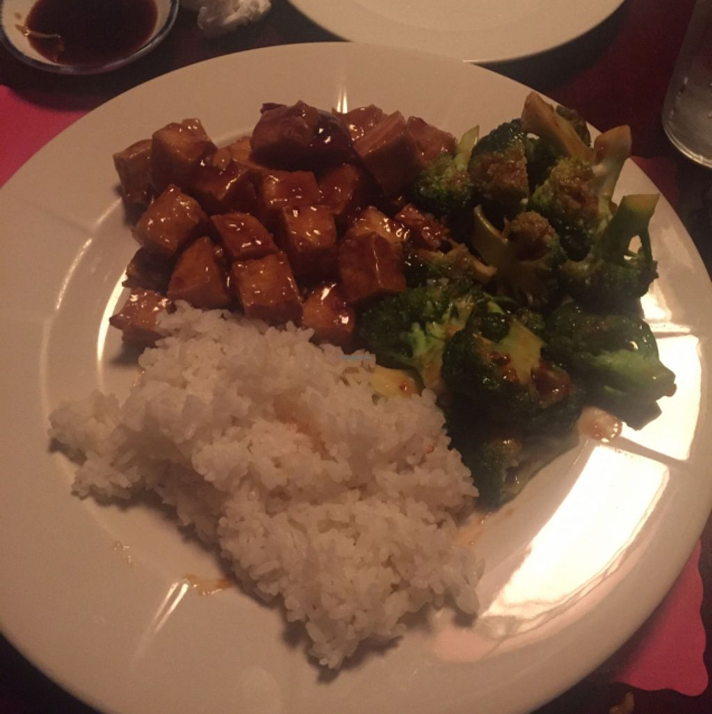 """Photo of CLOSED: Hana Sushi & Japanese Fusion  by <a href=""""/members/profile/mfmonroe04"""">mfmonroe04</a> <br/>General Tso's tofu with broccoli and rice  <br/> March 24, 2016  - <a href='/contact/abuse/image/71333/141172'>Report</a>"""