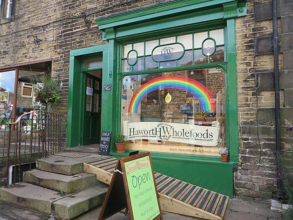 """Photo of Haworth Wholefoods  by <a href=""""/members/profile/HaworthWholefoods"""">HaworthWholefoods</a> <br/>Our shop at the top of Main Street, Haworth, just above the church - look out for the rainbow! <br/> June 28, 2017  - <a href='/contact/abuse/image/71351/274502'>Report</a>"""