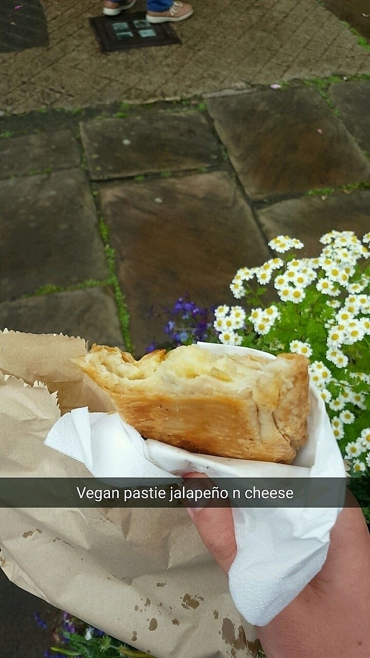 """Photo of Haworth Wholefoods  by <a href=""""/members/profile/VeganAnt"""">VeganAnt</a> <br/>Vegan Jalapeño & cheese pastie  <br/> July 4, 2017  - <a href='/contact/abuse/image/71351/276625'>Report</a>"""