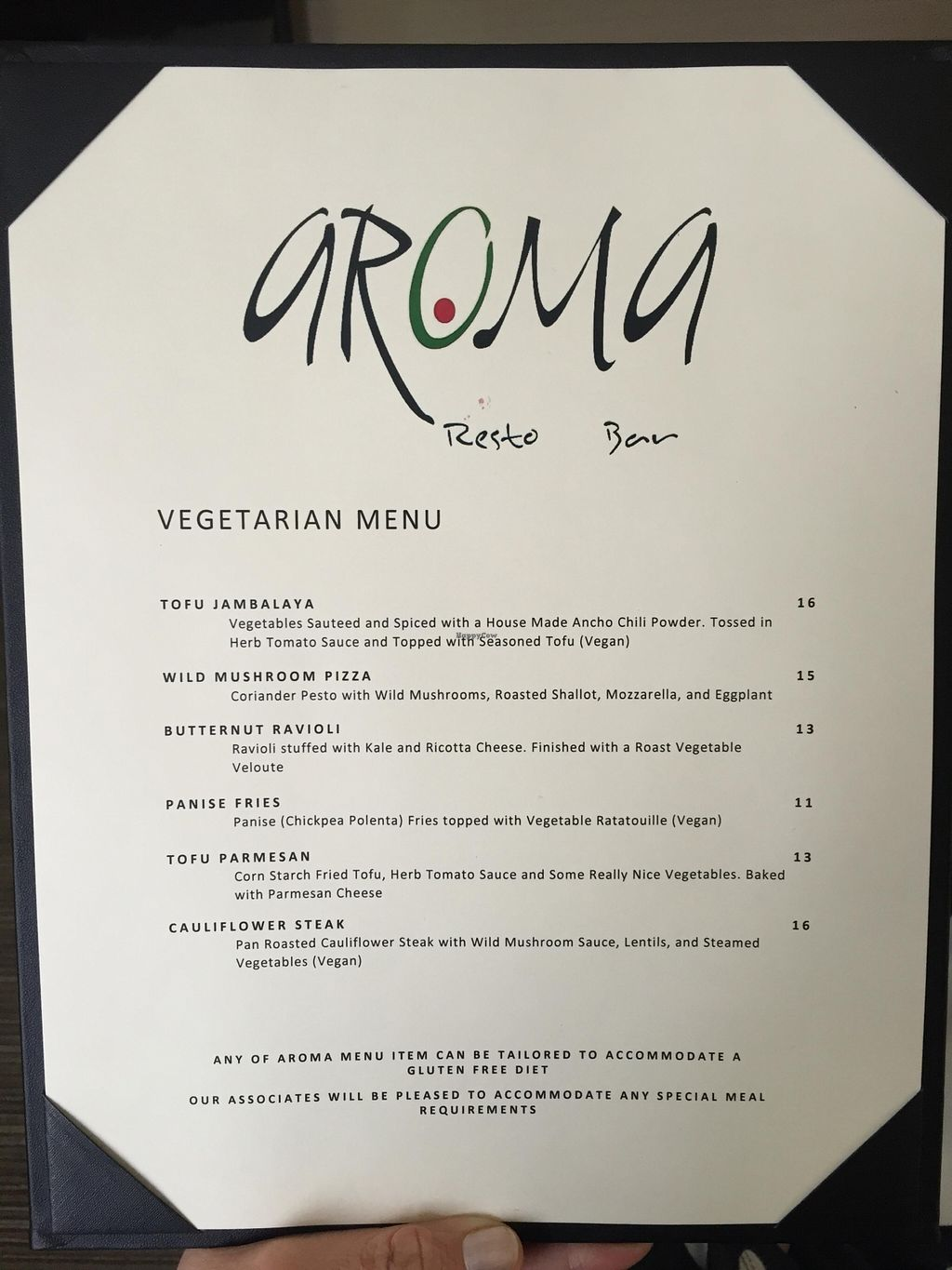 """Photo of Aroma Resto Bar - Radisson Hotel  by <a href=""""/members/profile/Agoodkey"""">Agoodkey</a> <br/>Menu from March 2016. I had the panise fries and the dish was delicious! <br/> March 28, 2016  - <a href='/contact/abuse/image/71359/141678'>Report</a>"""