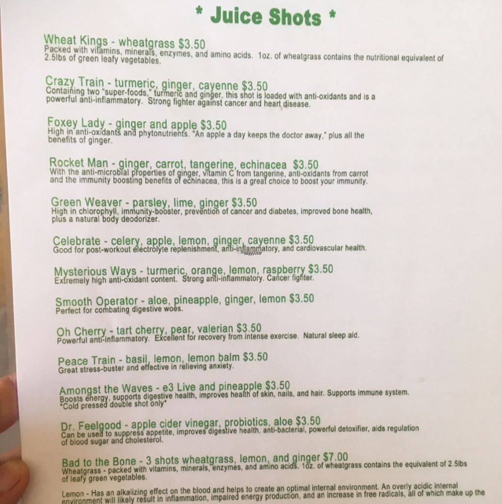 "Photo of Squeeze Juicery  by <a href=""/members/profile/Mariarosekicks"">Mariarosekicks</a> <br/>menu <br/> August 6, 2016  - <a href='/contact/abuse/image/71360/166323'>Report</a>"