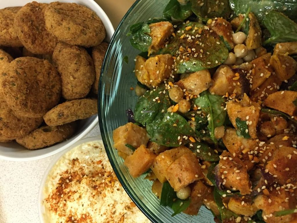 "Photo of Sweet Abandon  by <a href=""/members/profile/community"">community</a> <br/>Sweet Potato, chickpea & spinach salad, hand made falafels <br/> June 2, 2016  - <a href='/contact/abuse/image/71378/151940'>Report</a>"