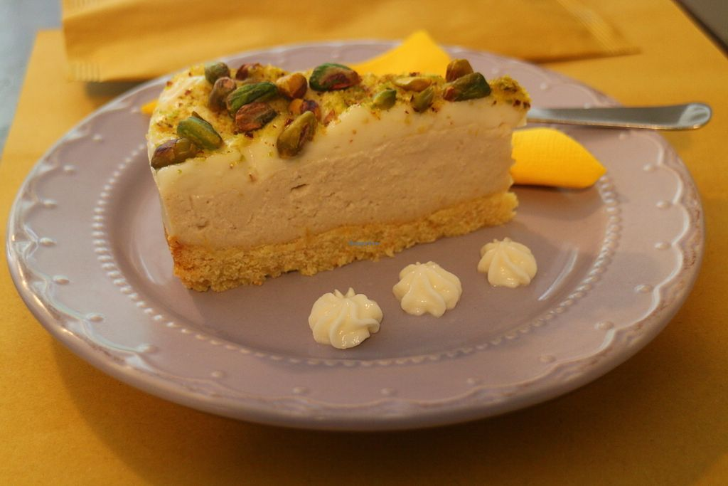 """Photo of Dulcamara Bio Vegan Bistrot  by <a href=""""/members/profile/AVeggieAdventurer"""">AVeggieAdventurer</a> <br/>You can't go wrong with this cheesecake for breakfast (and it doesn't have to be your birthday).  <br/> April 7, 2018  - <a href='/contact/abuse/image/71447/382079'>Report</a>"""
