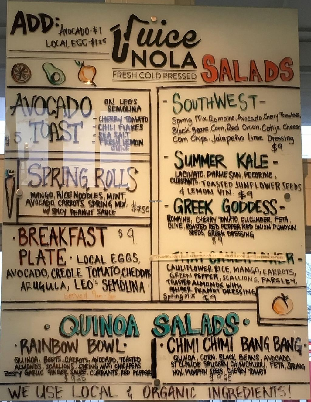 """Photo of Juice NOLA  by <a href=""""/members/profile/cookiem"""">cookiem</a> <br/>Food menu <br/> March 31, 2016  - <a href='/contact/abuse/image/71493/201385'>Report</a>"""