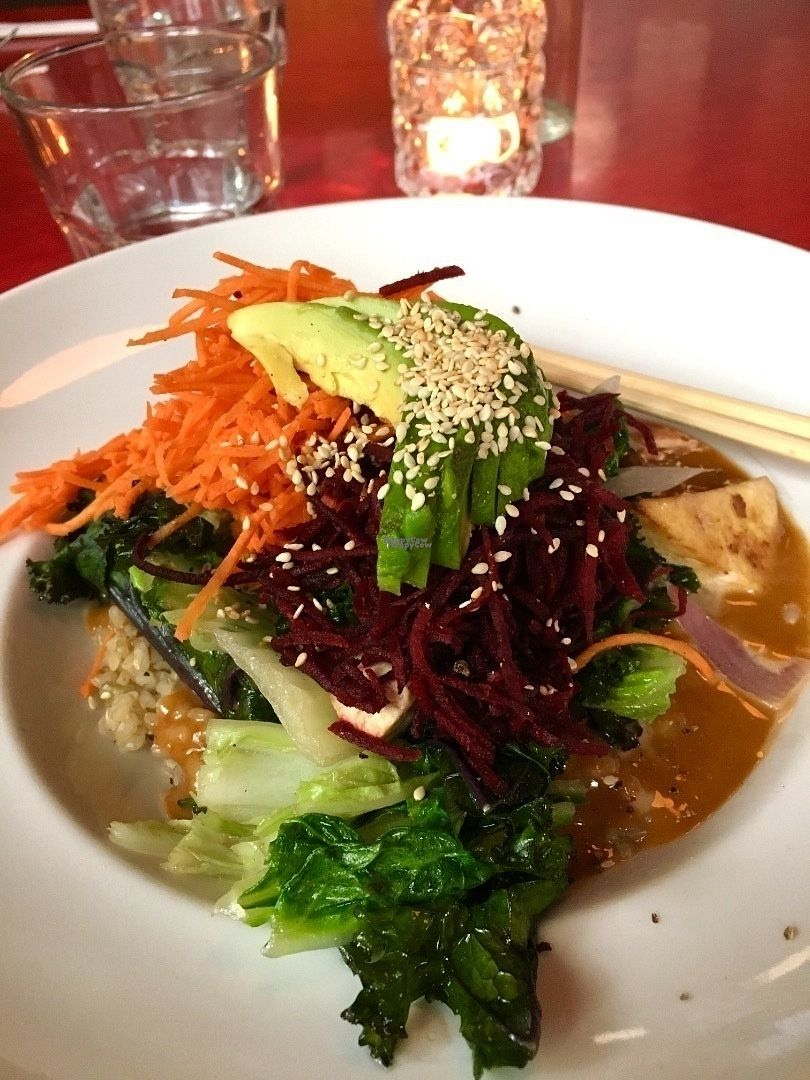 """Photo of The Gumboot Restaurant  by <a href=""""/members/profile/vegan%20frog"""">vegan frog</a> <br/>Buddha bowl <br/> October 22, 2016  - <a href='/contact/abuse/image/71500/183516'>Report</a>"""