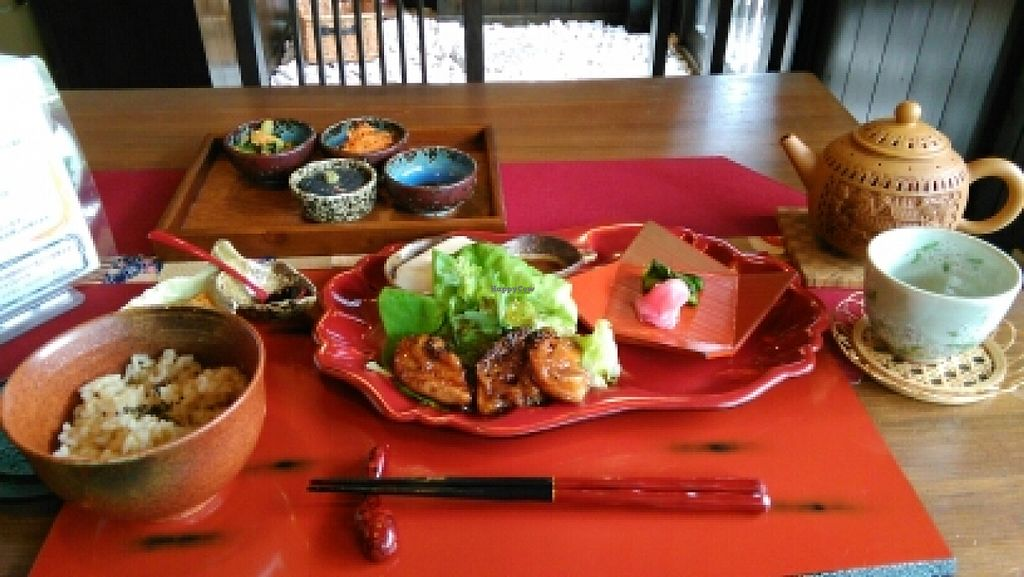 """Photo of Ajyari  by <a href=""""/members/profile/LisaLisaLisa"""">LisaLisaLisa</a> <br/>Vegan lunch set for 1200 yen <br/> March 29, 2016  - <a href='/contact/abuse/image/71519/141814'>Report</a>"""