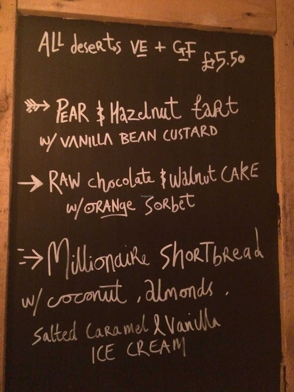 """Photo of Earth and Stars  by <a href=""""/members/profile/Kiwi%20Wannabe"""">Kiwi Wannabe</a> <br/>Dessert menu, all vegan!  The millionaire shortbread was delicious :-) <br/> April 9, 2016  - <a href='/contact/abuse/image/71529/143533'>Report</a>"""
