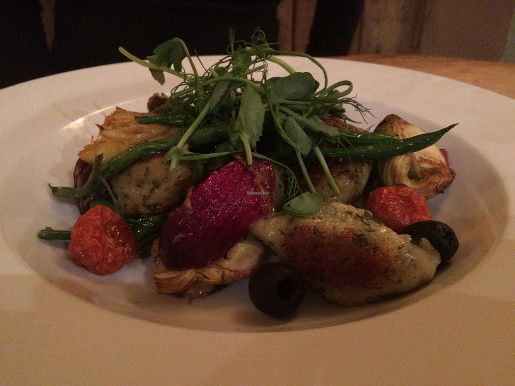 """Photo of Earth and Stars  by <a href=""""/members/profile/Kiwi%20Wannabe"""">Kiwi Wannabe</a> <br/>Herb Gnocchi with garlic green beans, caramelised red onion, artichoke, olives and slow roasted tomato.  Another fav.  <br/> April 9, 2016  - <a href='/contact/abuse/image/71529/143538'>Report</a>"""