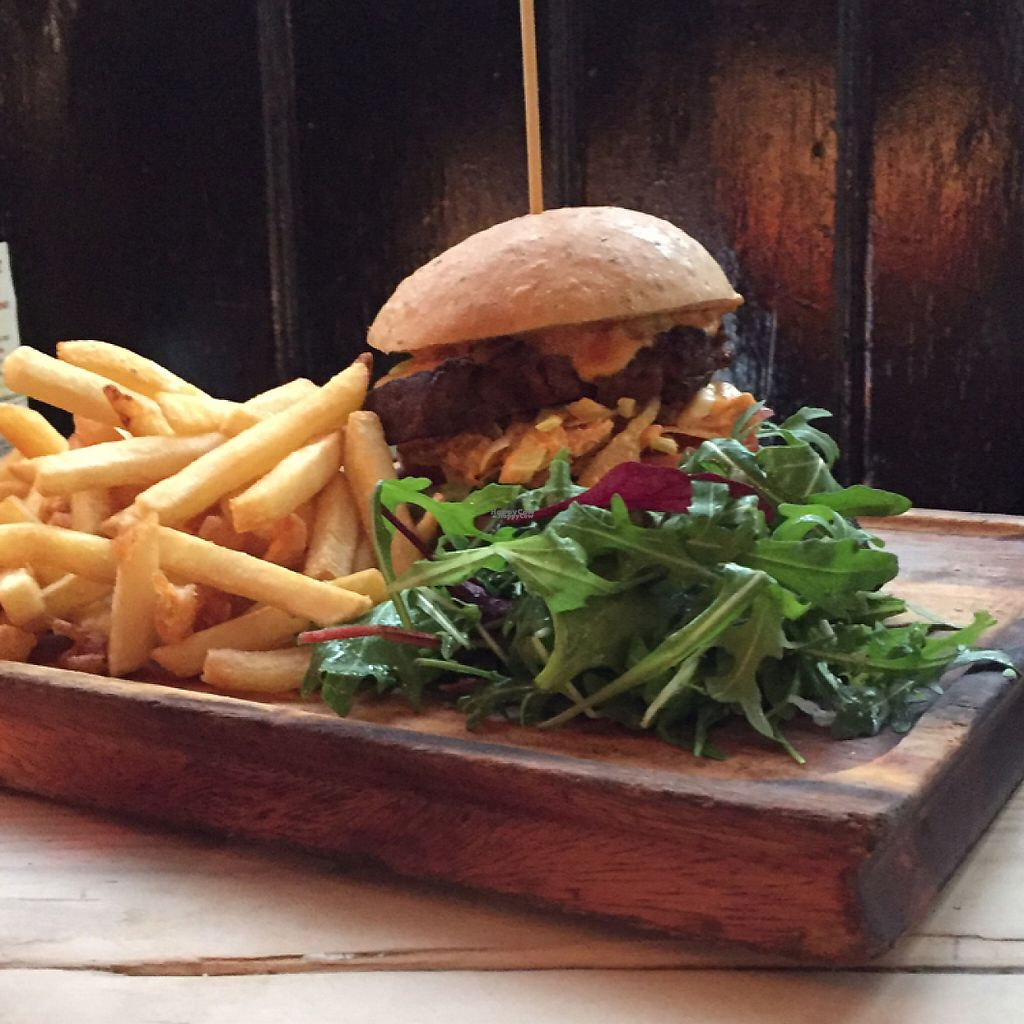 """Photo of Earth and Stars  by <a href=""""/members/profile/VeganD%21"""">VeganD!</a> <br/>Seitan burger - awesome.  <br/> January 22, 2017  - <a href='/contact/abuse/image/71529/214546'>Report</a>"""