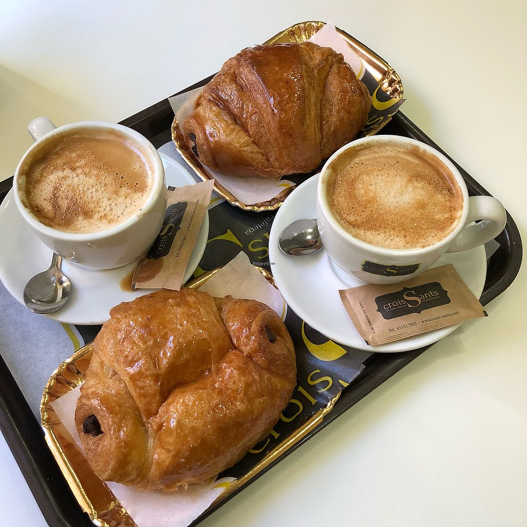 """Photo of Crois-Sants  by <a href=""""/members/profile/whepper"""">whepper</a> <br/>Vegan chocolate croissants and coffee with oat milk <br/> December 4, 2017  - <a href='/contact/abuse/image/71537/332268'>Report</a>"""