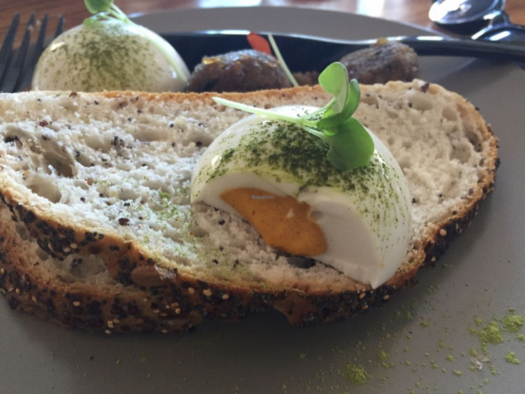 """Photo of Matcha Mylkbar  by <a href=""""/members/profile/Kittybiscuit"""">Kittybiscuit</a> <br/>vegan eggs with eggplant balls <br/> April 16, 2016  - <a href='/contact/abuse/image/71552/144936'>Report</a>"""