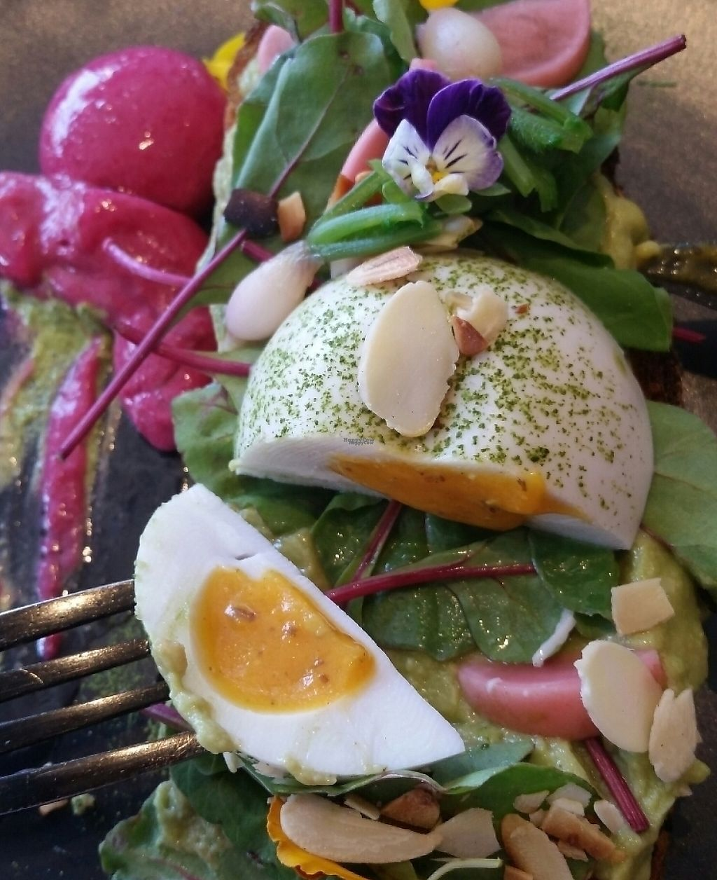 """Photo of Matcha Mylkbar  by <a href=""""/members/profile/Barolli"""">Barolli</a> <br/>Lime, avo guac toast, almond, beetroot,  radish with poached vegan egg <br/> December 30, 2016  - <a href='/contact/abuse/image/71552/261949'>Report</a>"""