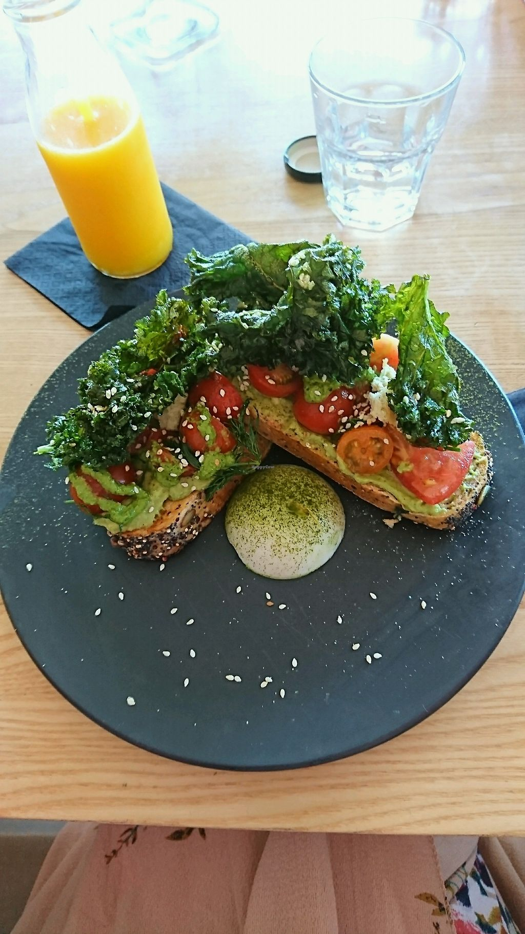 """Photo of Matcha Mylkbar  by <a href=""""/members/profile/LykaFox"""">LykaFox</a> <br/>Heirloom tomatoes with pesto and almond feta on avo on toast.  <br/> November 23, 2017  - <a href='/contact/abuse/image/71552/328253'>Report</a>"""
