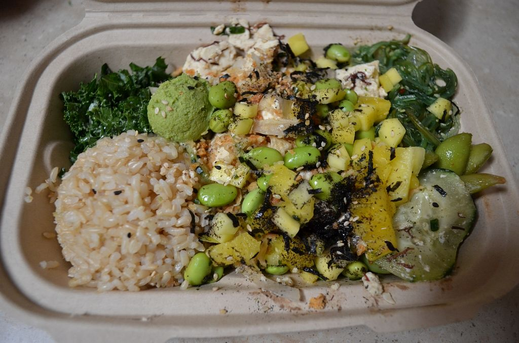 """Photo of Pokeatery  by <a href=""""/members/profile/alexandra_vegan"""">alexandra_vegan</a> <br/>Tofu poke bowl with brown rice, kale, seaweed salad, edamame, cucumbers, seaweed, pineapple, mango <br/> April 4, 2016  - <a href='/contact/abuse/image/71607/142719'>Report</a>"""