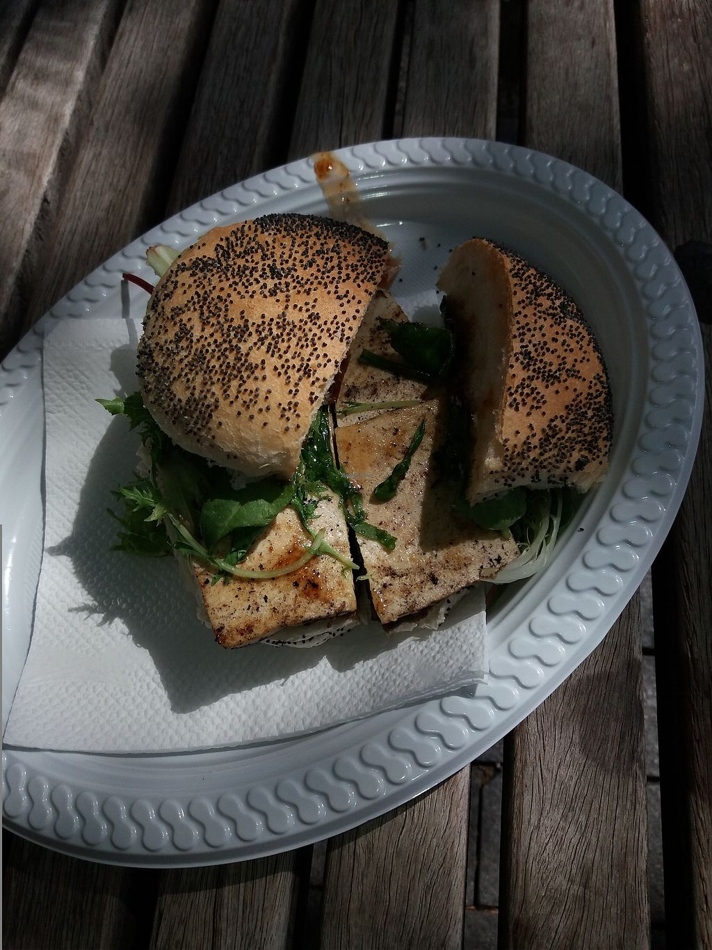 """Photo of Vejoes - Food Truck  by <a href=""""/members/profile/veganvirtues"""">veganvirtues</a> <br/>Smoked tofu and smoked mushroom burger <br/> March 20, 2018  - <a href='/contact/abuse/image/71609/373162'>Report</a>"""