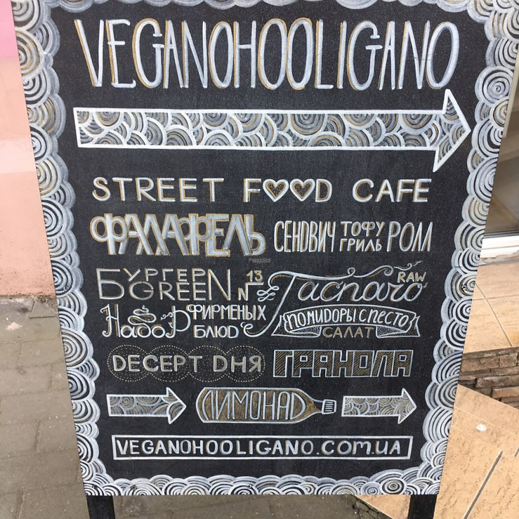 """Photo of Vegano Hooligano  by <a href=""""/members/profile/PaulLitwin"""">PaulLitwin</a> <br/>sign outside helped us locate this great restaurant  <br/> April 1, 2017  - <a href='/contact/abuse/image/71611/243427'>Report</a>"""