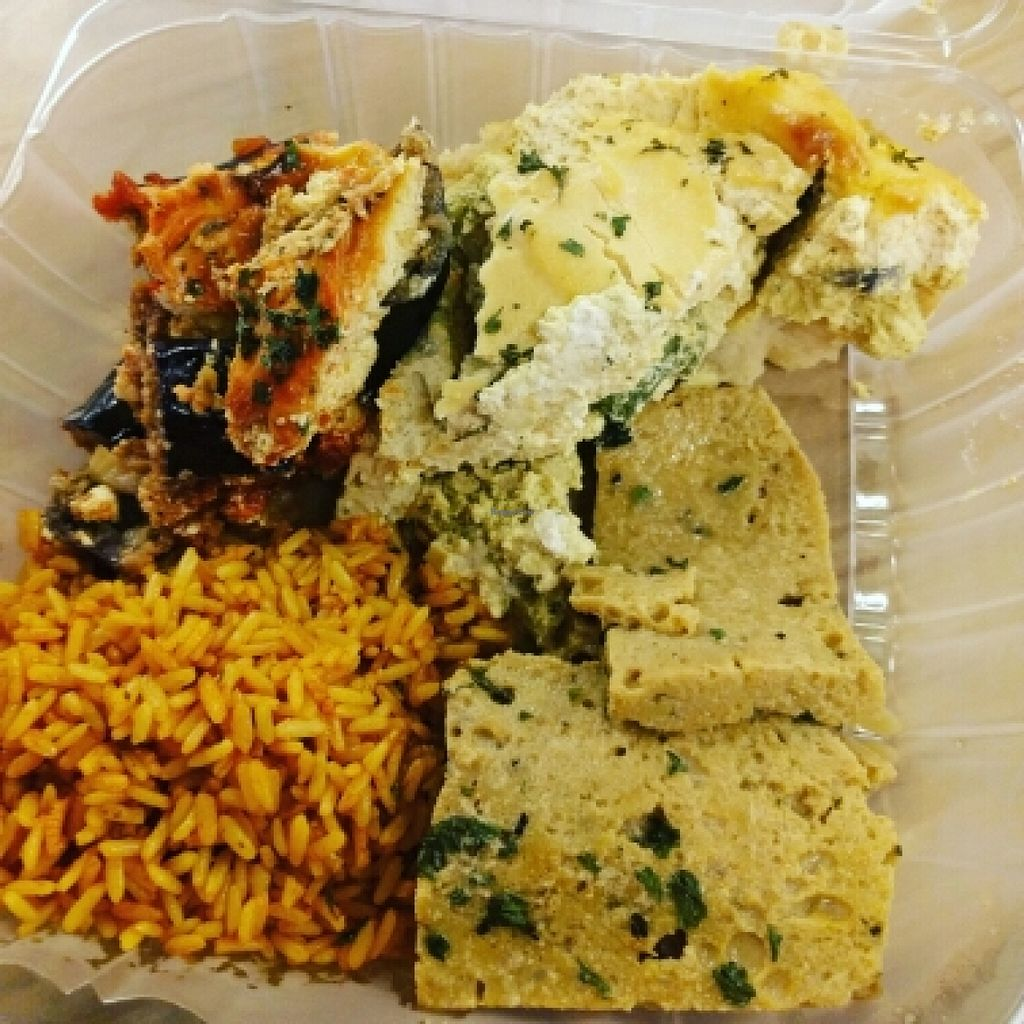 """Photo of Vegan Now  by <a href=""""/members/profile/greentea35"""">greentea35</a> <br/>eggplant parmesan, spinach quiche, vegan gyros, curry rice <br/> June 12, 2016  - <a href='/contact/abuse/image/71615/153567'>Report</a>"""