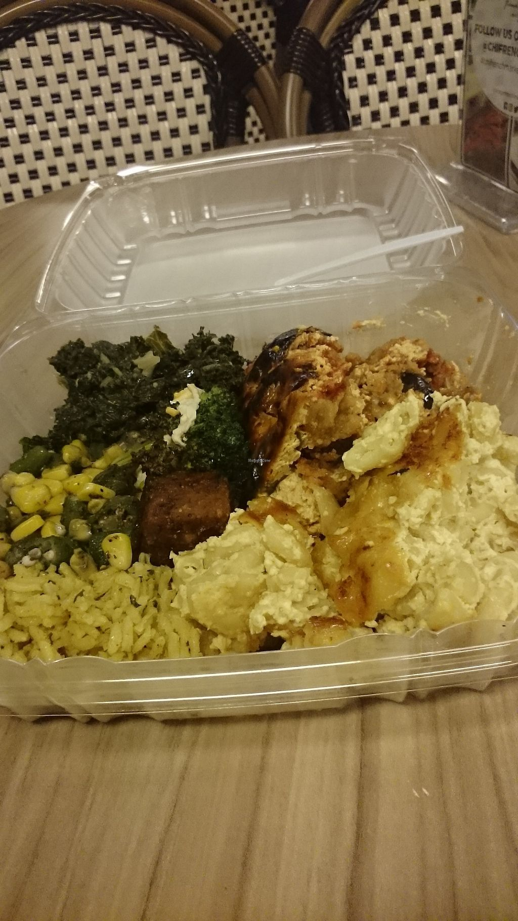 """Photo of Vegan Now  by <a href=""""/members/profile/ZoraySpielvogel"""">ZoraySpielvogel</a> <br/>Eggplant parm,  Mac & cheese,  Thai seitan,  greens & okra ?.   <br/> January 28, 2018  - <a href='/contact/abuse/image/71615/352068'>Report</a>"""
