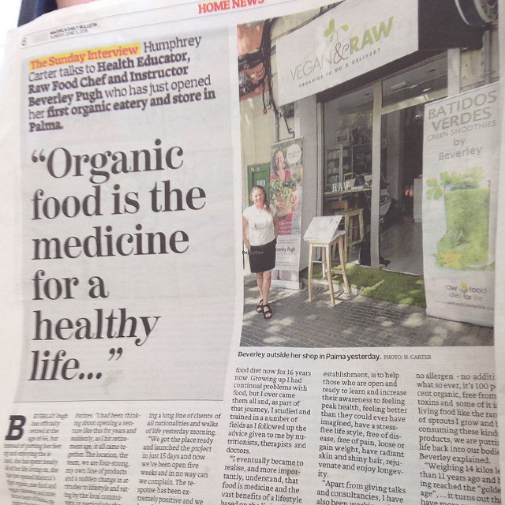 """Photo of Vegan & Raw  by <a href=""""/members/profile/DylanMcGarry"""">DylanMcGarry</a> <br/>great review in the Mallorca bulletin <br/> June 8, 2016  - <a href='/contact/abuse/image/71625/152857'>Report</a>"""