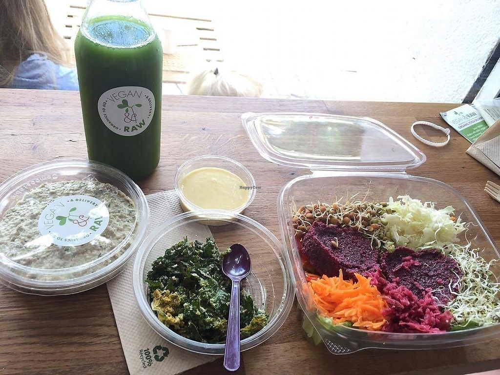 """Photo of Vegan & Raw  by <a href=""""/members/profile/MaureenDelaney"""">MaureenDelaney</a> <br/>The food was out of this world! Raw beetrot burger, kale chips, raw hummus, green juice <br/> September 2, 2017  - <a href='/contact/abuse/image/71625/300057'>Report</a>"""