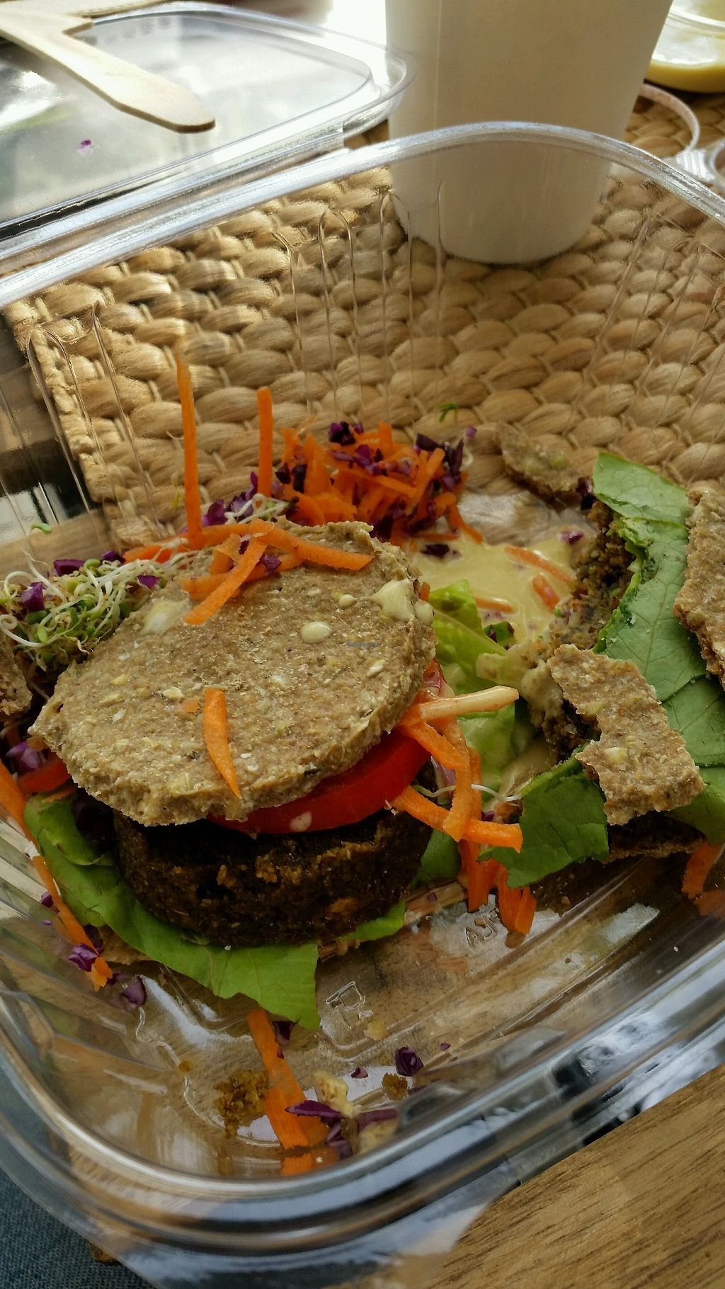 """Photo of Vegan & Raw  by <a href=""""/members/profile/shakaboyle"""">shakaboyle</a> <br/>popeye burger , super small <br/> October 3, 2017  - <a href='/contact/abuse/image/71625/311403'>Report</a>"""