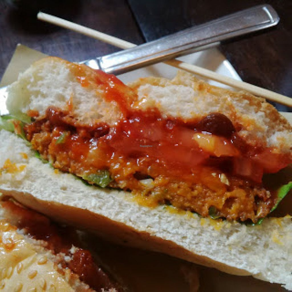 """Photo of Handmade Burger Co.  by <a href=""""/members/profile/Veganolive1"""">Veganolive1</a> <br/>Chickpea and Quinoa Burger <br/> June 20, 2016  - <a href='/contact/abuse/image/71627/155167'>Report</a>"""