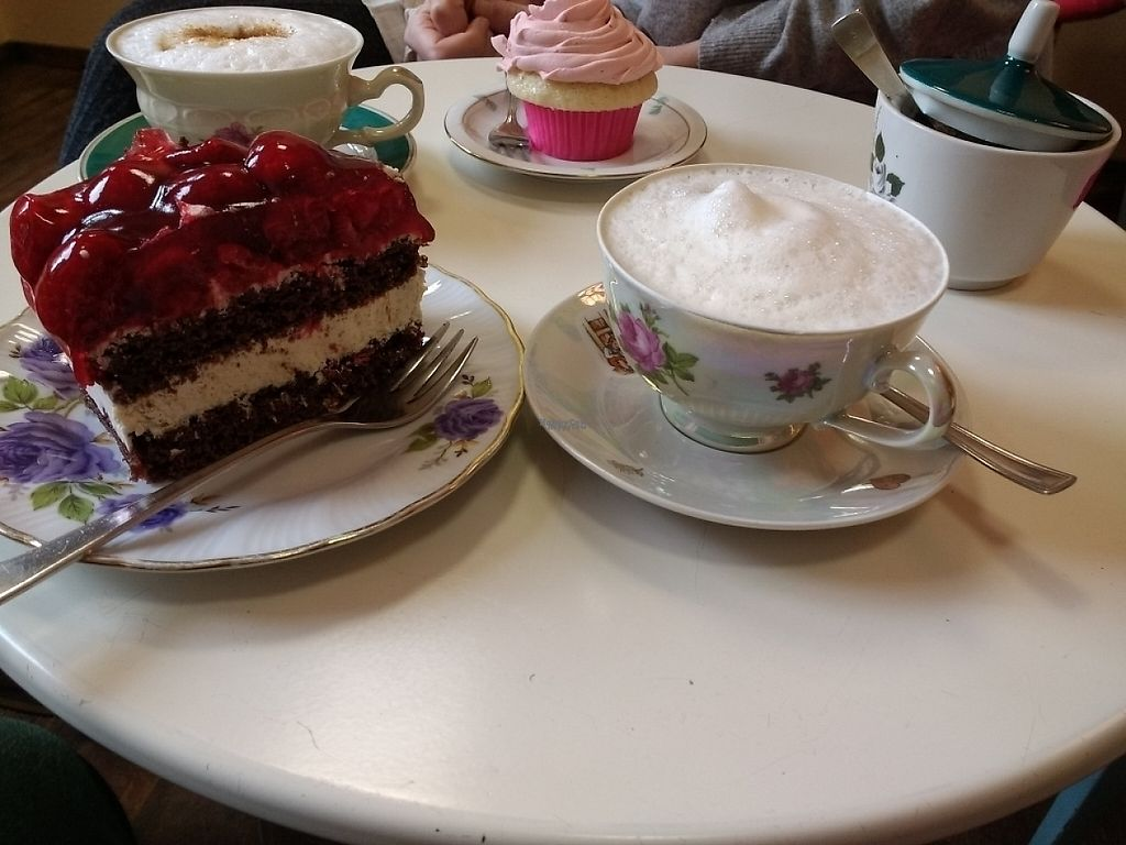 "Photo of Nasch Madame  by <a href=""/members/profile/Happymangoman"">Happymangoman</a> <br/>coconut raspberry cake, soy cappuccino and strawberry cupcake <br/> April 13, 2017  - <a href='/contact/abuse/image/71645/247558'>Report</a>"